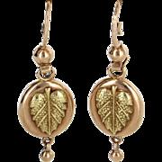 Russian Drop Leaf Earrings Vintage 14 Karat Rose Yellow Gold Estate Fine Jewelry