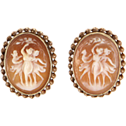 The Three Graces Cameo Earrings Vintage 10 Karat Yellow Gold Estate Fine Jewelry