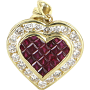 Ruby Diamond Heart Pendant Vintage 18 Karat Yellow Gold Estate Fine Jewelry Pre Owned