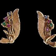 Gemstone Earrings Vintage 14 Karat Yellow Gold Estate Fine Jewelry Ruby Emerald