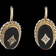 Onyx Diamond Oval Drop Earrings Vintage 14 Karat Yellow Gold Estate Fine Jewelry