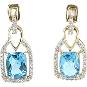 Blue Topaz Diamond Drop Earrings Estate 14 Karat Gold Estate Fine Jewelry Pre Owned