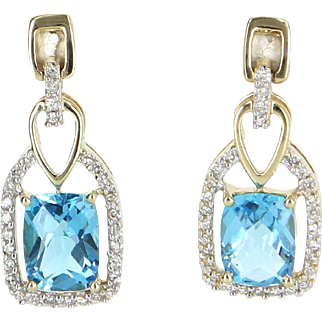 Blue Topaz Diamond Drop Earrings Estate 14 Karat Gold Estate Fine Jewelry Pre Owned