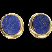 Oval Lapis Lazuli Stud Earrings Vintage 14 Karat Yellow Gold Estate Fine Jewelry