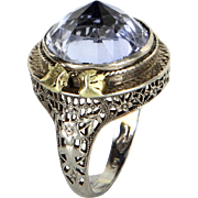 Pointed Amethyst Cocktail Ring Vintage Art Deco 14 Karat White Gold Filigree Jewelry