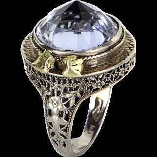 Pointed Amethyst Cocktail Ring Vintage Art Deco 14 Karat White Gold Filigree Jewelry