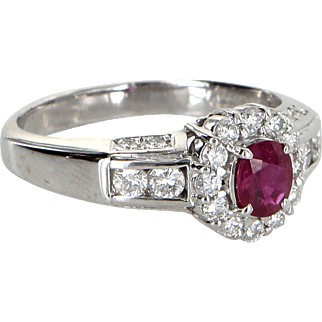 Ruby Diamond Princess Ring Vintage 900 Platinum Estate Fine Jewelry Pre Owned