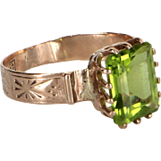 Antique Victorian Peridot Cocktail Ring Vintage 10 Karat Rose Gold Estate Jewelry 6