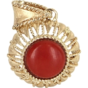Mediterranean Red Coral Pendant Vintage 14 Karat Yellow Gold Estate Fine Jewelry