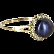 Cultured Black Pearl Diamond Halo Cocktail Ring Vintage 14 Karat Yellow Gold Estate