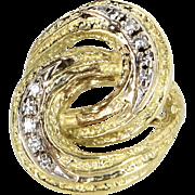 Retro Vintage Diamond Infinity Cocktail Ring 18 Karat Yellow Gold Estate Jewelry