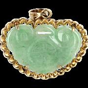 Carved Jade Pendant Longevity Vintage 14 Karat Yellow Gold Estate Fine Jewelry