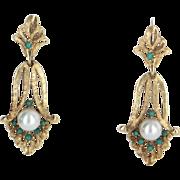 Turquoise Cultured Pearl Pendant Drop Earrings Vintage 14 Karat Yellow Gold Estate