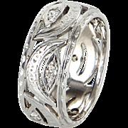 Antique Deco Cresent Moon Sz 8.5 Diamond Wedding Band Ring Vintage 14 Karat White Gold