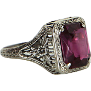 Vintage Art Deco Lab Ruby Filigree Ring 14 Karat White Gold Estate Fine Jewelry