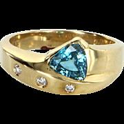 Blue Topaz Diamond Stacking Ring Vintage 14 Karat Yellow Gold Estate Fine Jewelry