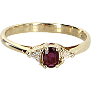 Ruby Trillion Diamond Stacking Ring Vintage 14 Karat Yellow Gold Estate Fine Jewelry