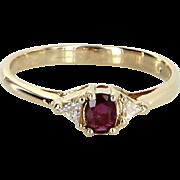 Ruby Trillion Diamond Stacking Ring Vintage 14 Karat Yellow Gold Estate Fine Jewelry