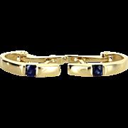 Sapphire Shrimp Earrings Vintage 18 Karat Yellow Gold Estate Fine Jewelry Pre Owned