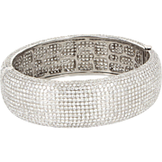 Estate 22.95ct Pave Diamond Bangle Bracelet 18 Karat White Gold Fine Jewelry 6.5