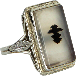 Vintage Art Deco Moss Agate Portrait Square Cocktail Ring Estate 14 Karat White Gold
