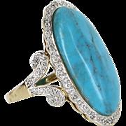 Turquoise Diamond Large Oval Cocktail Ring Vintage 14 Karat Yellow Gold Estate Fine