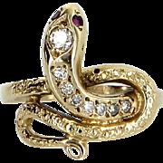 Snake Ring Diamond Ruby Vintage 14 Karat Yellow Gold Estate Fine Serpent Jewelry