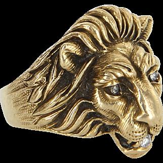 Mens Diamond Lion Ring Vintage 14 Karat Yellow Gold Estate Fine Animal Jewelry 8