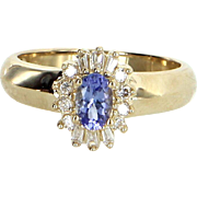 Tanzanite Diamond Princess Cocktail Ring Vintage 14 Karat Yellow Gold Estate Jewelry