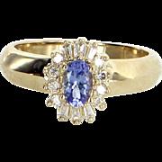 Tanzanite Diamond Princess Cocktail Ring Vintage 14 Karat Yellow Gold Estate Jewelry
