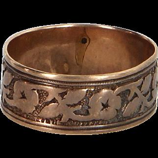 Antique Victorian 14 Karat Rose Gold Embossed Wedding Band Ring Vintage Fine Jewelry