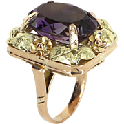 Large Amethyst Square Cocktail Ring Vintage 14 Karat Rose Green Gold Estate Jewelry