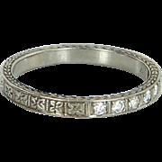 Vintage Art Deco Diamond Wedding Band Ring Sz 6.75 Embossed 18 Karat White Gold Jewelry