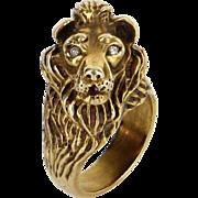 Lion Head Diamond Ring Vintage 14 Karat Yellow Gold Estate Fine Animal Jewelry 6