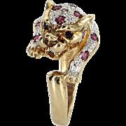 Ruby Diamond Leopard Cat Animal Ring Vintage 14 Karat Yellow Gold Estate Jewelry