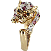 Ruby Diamond Leopard Cat Animal Ring Vintage 14 Karat Yellow Gold Estate Jewelry