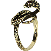 Cobra Snake Ring Vintage 14 Karat Yellow Gold Ruby Estate Fine Jewelry Heirloom