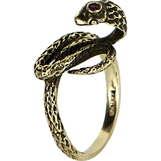 Cobra Snake Ring Vintage 14 Karat Yellow Gold Ruby Estate Fine Jewelry Heirloom