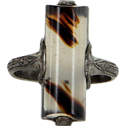 Vintage Art Deco Banded Agate Sterling Silver Cocktail Ring Estate Jewelry
