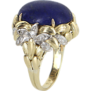 Lapis Lazuli Diamond Cocktail Ring Vintage 18 Karat Yellow Gold Estate Fine Jewelry