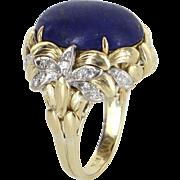 Lapis Lazuli Diamond Cocktail Ring Vintage 18 Karat Yellow Gold Estate Fine Jewelry