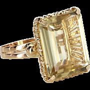 Large 22ct Citrine Cocktail Ring Vintage 18 Karat Yellow Gold Estate Fine Jewelry