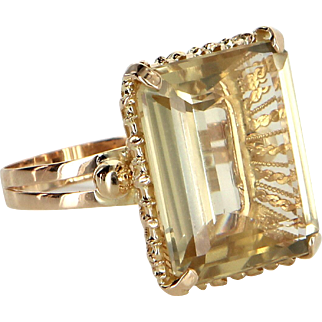 Large 22ct Citrine Cocktail Ring Vintage 18 Karat Yellow Gold Estate Fine Jewelry