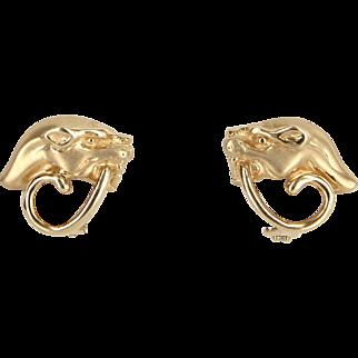 Panther Earrings Vintage 14 Karat Yellow Gold Estate Fine Animal Jewelry Heirloom