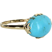 East West Turquoise Cocktail Ring Vintage 14 Karat Yellow Gold Estate Fine Jewelry