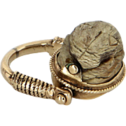 Egyptian Scarab Beetle Flip Ring Vintage 14 Karat Yellow Gold Estate Fine Jewelry 5.5