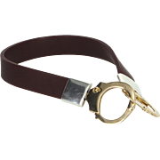 Freedom 18 Karat Gold Handcuff Rubber Bracelet Estate Fine Jewelry Italy Pre Owned