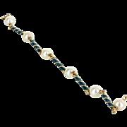 Cultured Pearl Green Enamel Bracelet Vintage 18 Karat Yellow Gold Estate Fine Jewelry