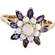 Opal Amethyst Cluster Cocktail Ring Vintage 10 Karat Yellow Gold Estate Fine Jewelry