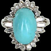 Vintage Egg Shell Blue Turquoise Diamond Cocktail Ring 14 Karat White Gold Estate